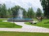 фонтан, дорожки, газон, частный ландшафт